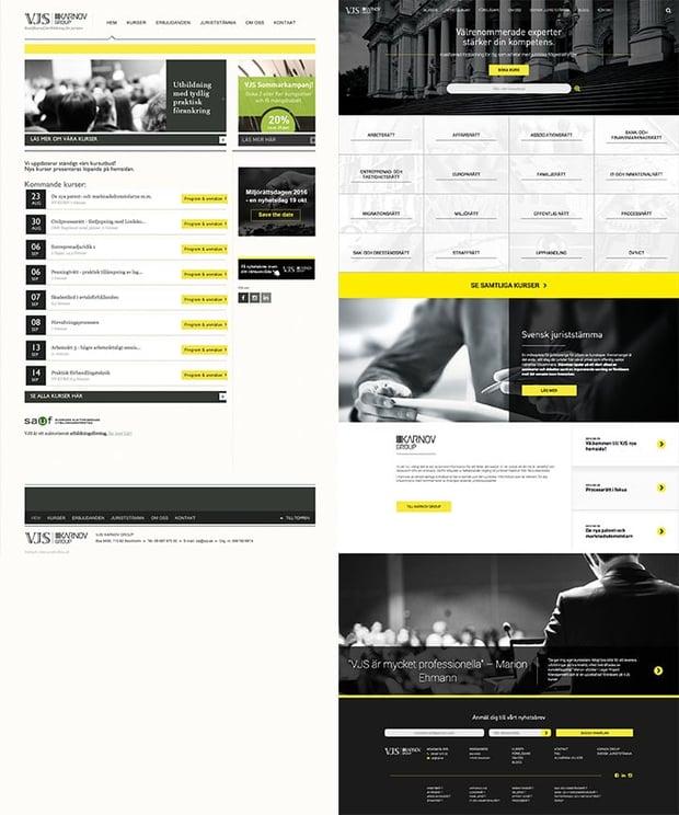 VJS hemsida före och efter redesign av hemsidan