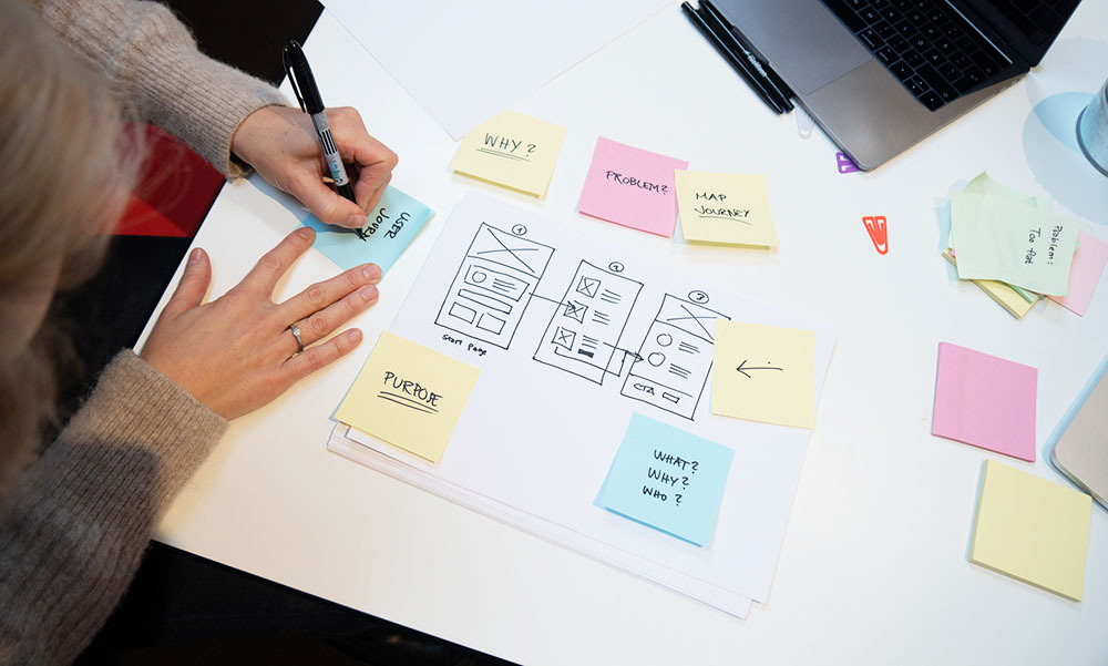 UX designer using post-its to map out and assess user needs