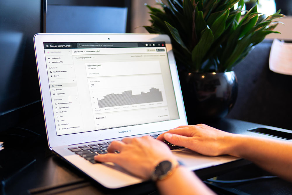 Google search console on laptop screen