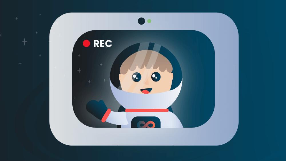 illustration of an iGoMoon astronaut recording a video