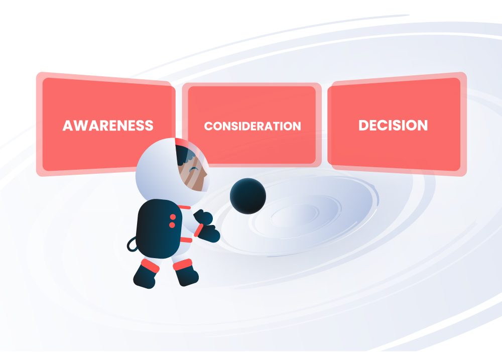 marketing astronaut illustration looking at screens of buyers journey stages